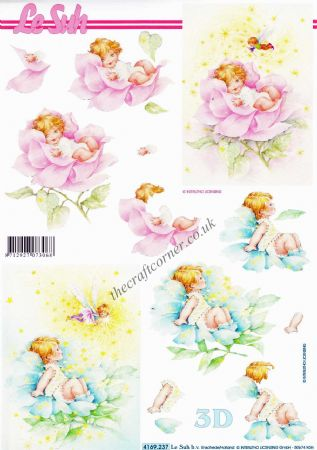 Baby Sitting In a Rose With a Fairy 3d Decoupage Sheet